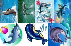 Водорастворимая бумага с рисунком Дельфины 216х139мм
