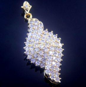 """Элегантная позолоченная подвеска """"Лепесток"""" с искусственными бриллиантами с цепочкой"""
