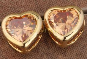 Позолоченные серьги-сердечки с медовыми цитринами