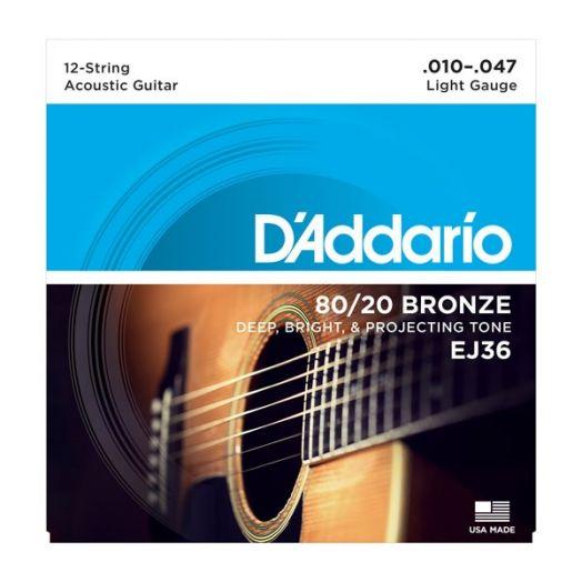 D'ADDARIO EJ36 BRONZE 80/20 (10-47) Струны для 12-струнной акустической гитары