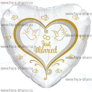 Шар фольгированный Свадебные голуби 46 см