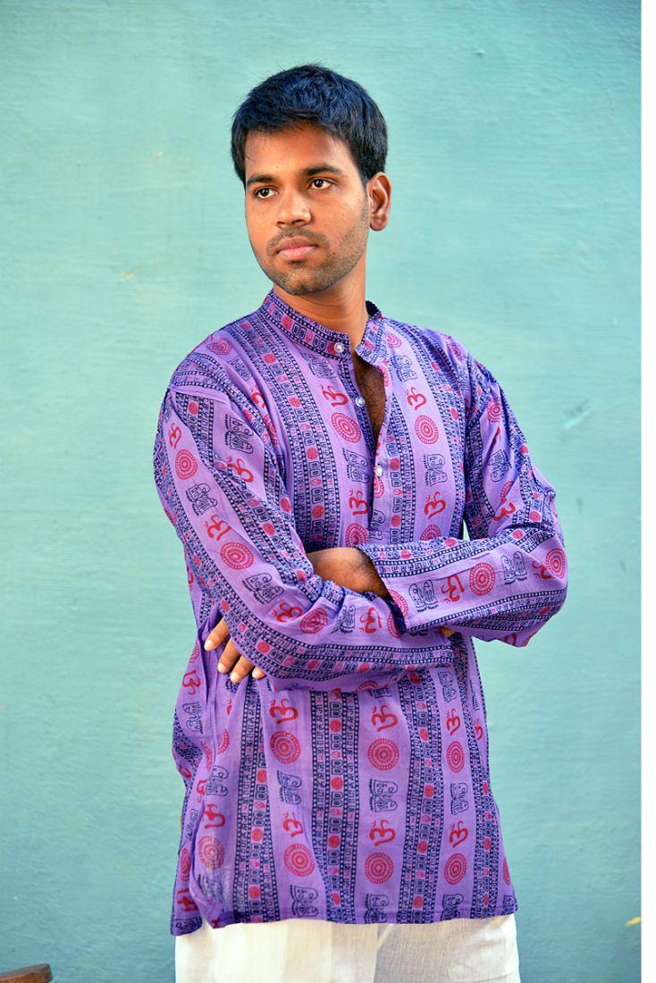 Фиолетовая мужская индийская рубашка