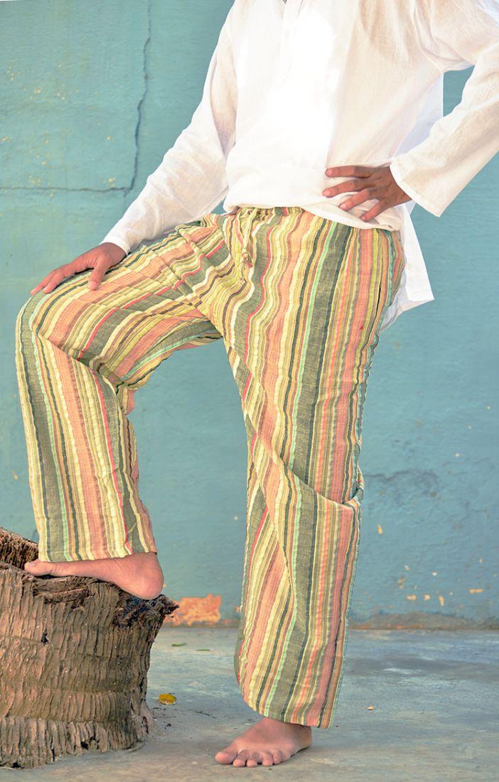 Разные цвета! Летние мужские штаны в полоску (отправка из Индии)