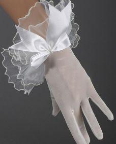 Белые короткие прозрачные перчатки с бантиком и рюшами