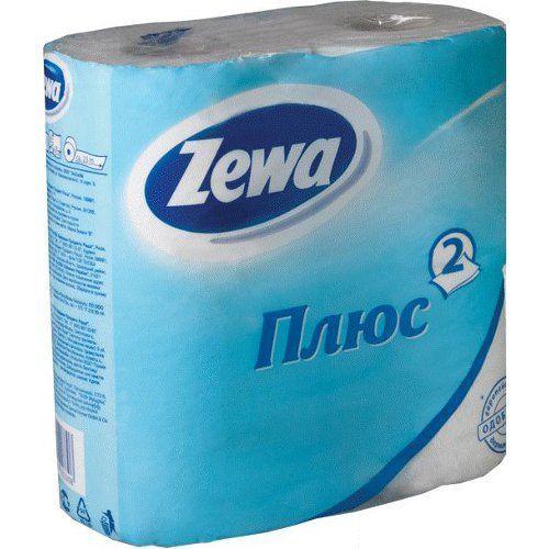 "Zewa туалетная бумага ""Плюс"" 2 слойная, тон белая, 4 шт"