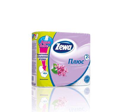 """Zewa туалетная бумага """"Плюс"""" 2 слойная с ароматом сирени, 4 шт"""