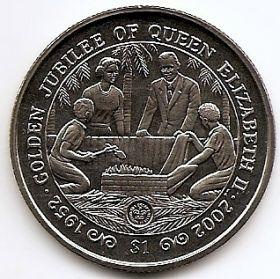 Золотой юбилей королевы Елизаветы II1 доллар Сьерра-Леоне 2002