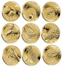 Насекомые Набор монет. Австралия 1 доллар, 2010 (9 шт.) в альбоме с буклетом