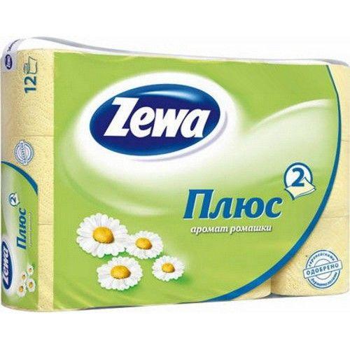 "Zewa туалетная бумага ""Плюс"" 2 слойная с ароматом ромашки, 12 шт."