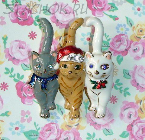 """Брошь-Подвеска """"Рождественские коты"""" под золото, эмаль, камушки (США)"""