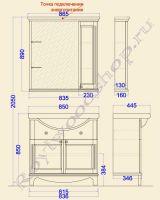 Технический чертеж с зеркалом-шкафом