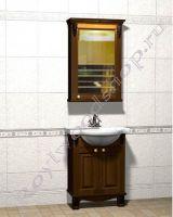 """Мебель в ванную из дерева """"Челси-2 УОРВИК-55 орех"""" с зеркалом-шкафом (правый)"""