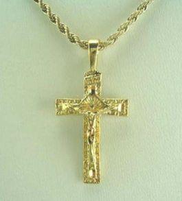 Позолоченная цепочка и крест с алмазным сечением (арт. 160189)