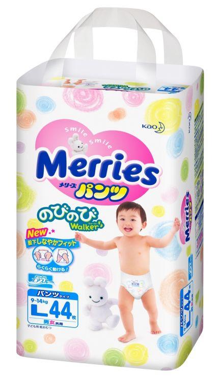 MERRIES Трусики-подгузники для детей размер L 9-14 кг, 44 шт.