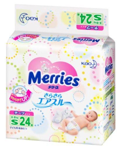 MERRIES Подгузники для детей размер S 4-8 кг, 24 шт.