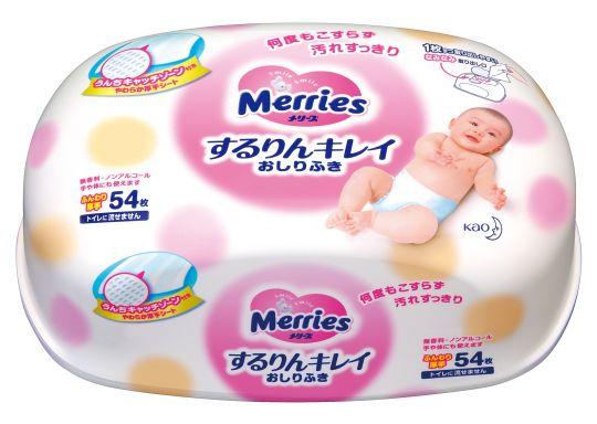 MERRIES Детские влажные салфетки, пластиковый контейнер 54 шт