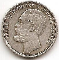 Оскар II король Швеции и Норвегии  1 крона Швеция 1875