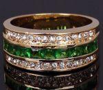 Позолоченное кольцо с искусственными изумрудами и бриллиантами