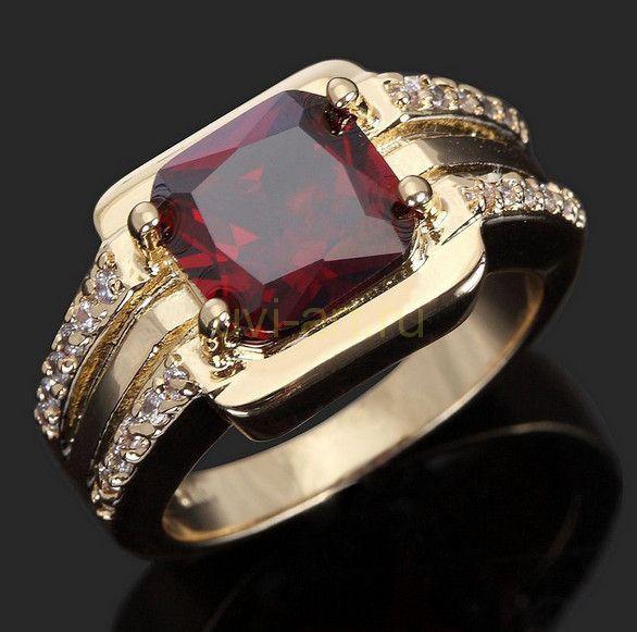 Позолоченное кольцо с искусственным рубином и цирконами (арт. 801123)