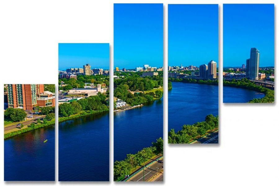 Модульная картина Город на реке
