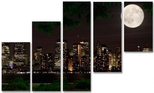 Модульная картина Город и луна