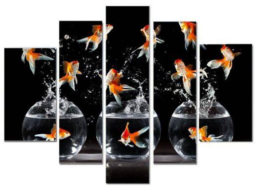 Модульная картина Рыбки в аквариуме