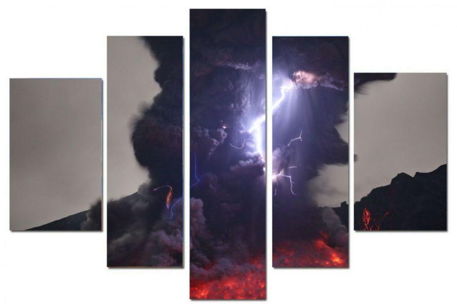 Модульная картина Удар молнии