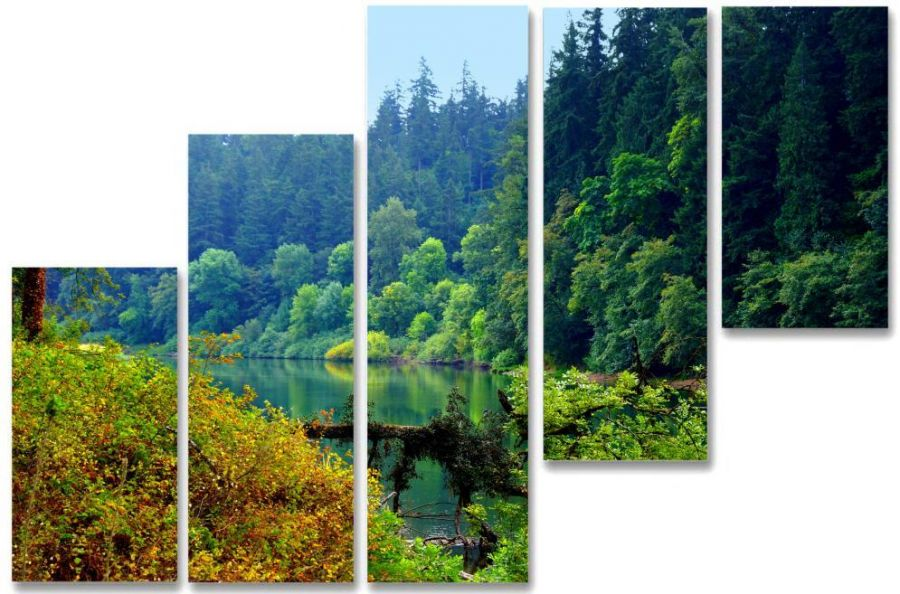 Модульная картина Озеро в лесу