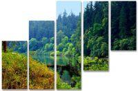 Модульная картина Лесное озеро