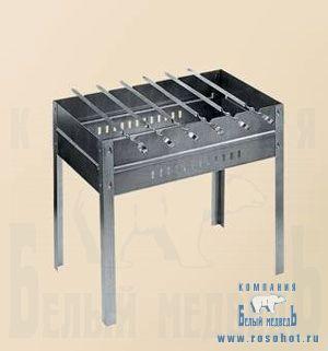 Мангал + 6 шампуров (нерж. сталь) (Тверь)  0006066
