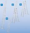 Универсальнаялестница - трансформер(приставная, раздвижная, стремянка с выдвижной секцией) KrauseSTABILO с настенными роликами, 3х14 перекладин