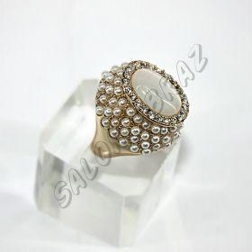 Кольцо-перстень с кошачьим глазом и жемчугом КО-056