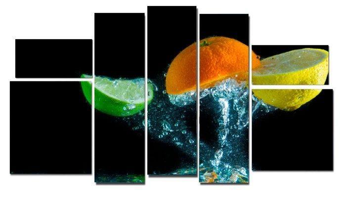 Модульная картина Фрукты в воде