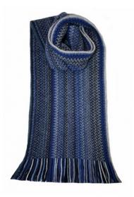 модный вязаный шотландский  шарф MIDNIGHT FAITHWOOL/ANGORA KNITTED SCARF Зигзаг Полночь, плотность 7