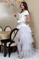 Белая многоуровневая юбка рыбий хвост
