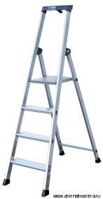 Односторонняя алюминиевая лестница - стремянка Krause SOLIDO, развальцованные 5 ступеней