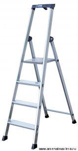 Односторонняя алюминиевая лестница - стремянка Krause SOLIDO, развальцованные 4 ступени