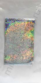 Фольга переводная голографическая GOL105 Серебро точки 4 см * 1 м