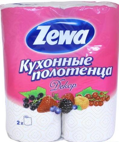 "Zewa полотенца кухонные ""Декор"" 2-х слойные, 2 шт."