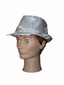Шляпа с блестками серебро