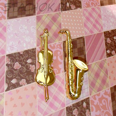 "Две брошки ""Саксофон и виолончель"" под золото"