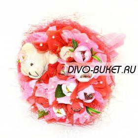 """Букет из конфет с мишкой №306-1к """"Сластёнка"""""""