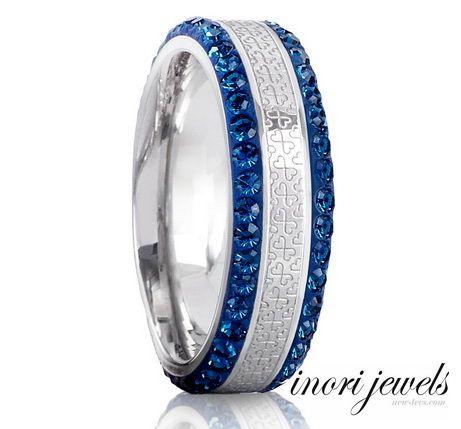 Кольцо Inori с синими цирконами