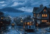 "Раскраска по номерам ""Ночной трамвай"" 50х65"