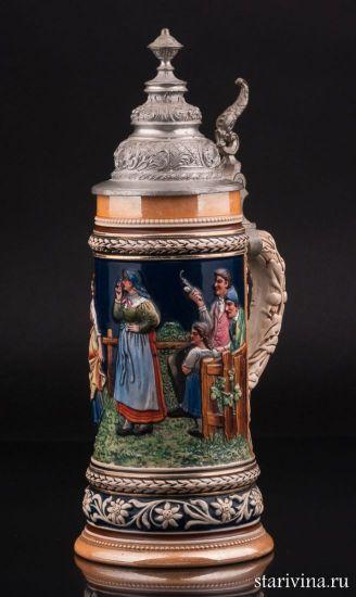 Сельская сцена, антикварная пивная кружка 1/2 л, Marzi & Remy, Германия, 1900 гг.