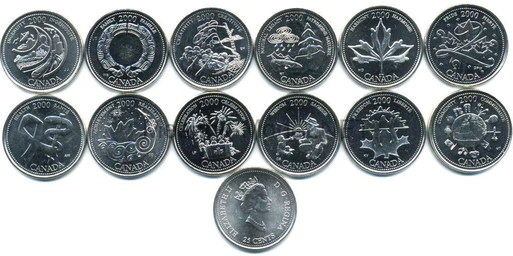 Комплект монет Канада 25 центов 2000 год Миллениум