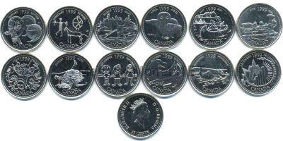 Набор монет Канада 25 центов 1999 год Миллениум