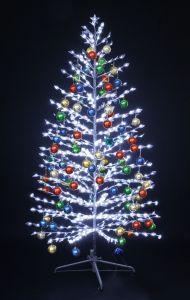 """LED-""""Ель""""белая, 210см, с разноцветными шариками"""