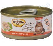 Мнямс Консервы для кошек Курица с ветчиной в нежном желе (70 г)