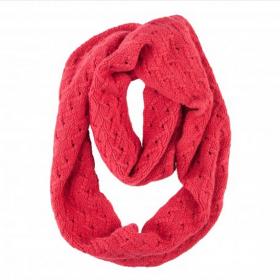 шотландский шерстяной снуд (шарф-хомут) Инфинити, цвет шиповника Infinity rosehip , вязаный, высокой плотности 9